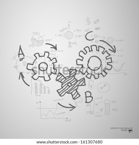 Business hand drawn sketch on gray wall - stock vector