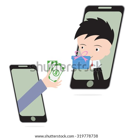 business hand, give money and businessman delivery gift or goods via mobile system, e-commerce shopping online concept - stock vector