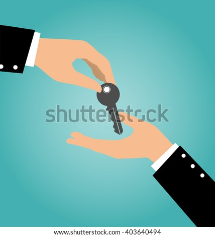 Business hand giving a key to another hand, Buy Rental and Sell Concept - stock vector