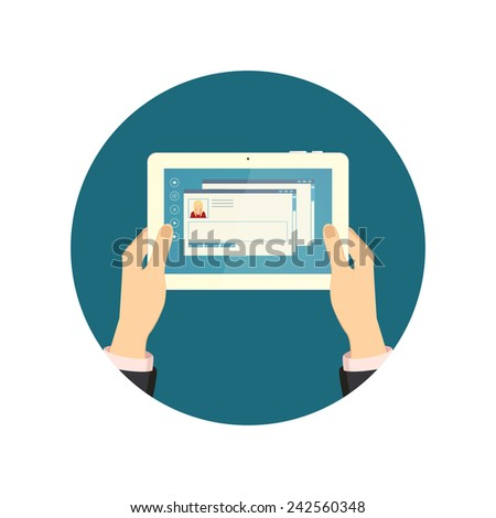 Business hand holding and using tablet computer and touching the screen concept vector illustration - stock vector