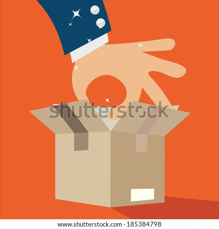 Business hand picking up sometine in a box