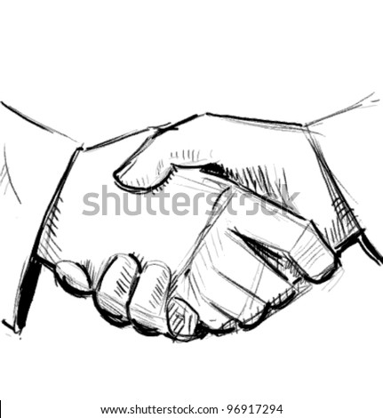 Business hand shake between two colleagues. Sketch vector illustration - stock vector