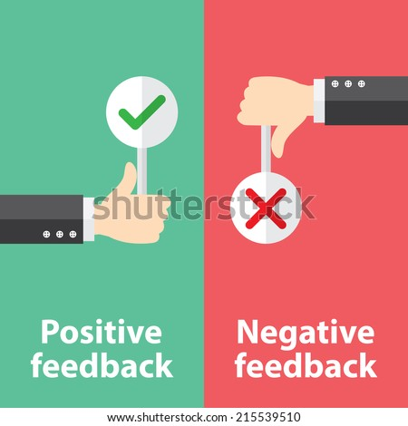 Business hand thumb up with true and false sign. Vector illustration of positive and negative feedback concept. Minimal and flat design - stock vector