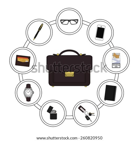 Business handbag contents. Every day carry objects in round frame. Vector clip art illustrations isolated on white - stock vector