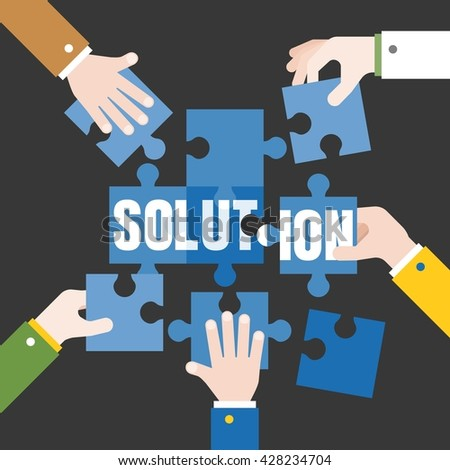 Business Hands and jigsaw puzzle pieces, business concept illustration vector, Problem solution, flat design - stock vector