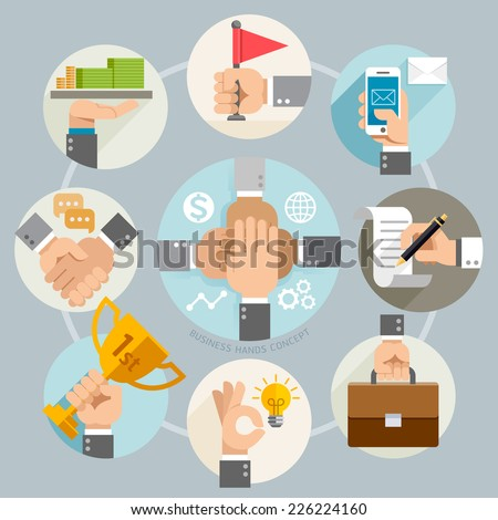 Business hands concept icons. Vector illustration. Can be used for workflow layout, banner, diagram, web design, infographic template. - stock vector