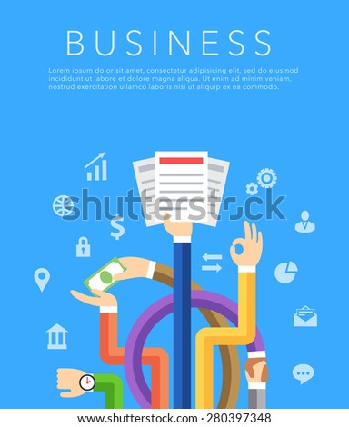business hands flat vector background on blue - stock vector