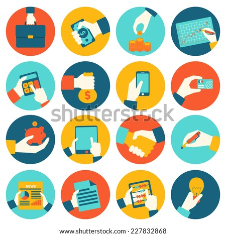 Business hands holding briefcase money coin graph financial icons set isolated vector illustration - stock vector
