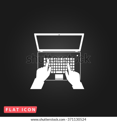 Business hands on notebook computer keyboard with open screen. White flat simple vector on black. Icon JPEG JPG. Icon Picture Image. Icon Graphic Art. Icon EPS AI. Icon Drawing Object. Icon Path UI - stock vector