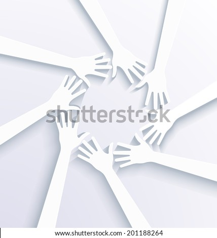 Business hands showing team concept. 3D white vector - stock vector