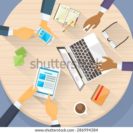 Business Hands Tablet Laptop Phone Digital Devise People Working Internet Top Angle View Circle Desk Flat Vector Illustration - stock vector