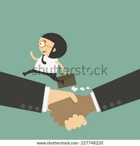 Business handshake and business people - stock vector