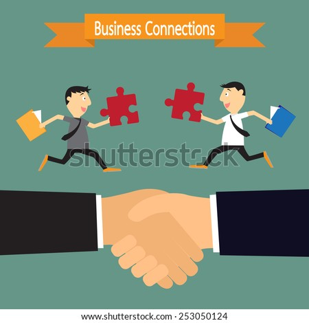 Business handshake and businessman connection partners, connecting puzzle elements concept. vector illustration. - stock vector