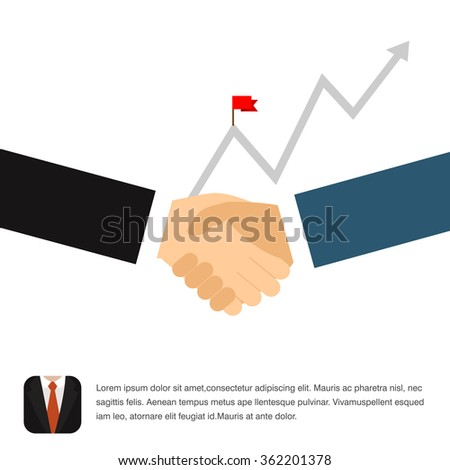Business handshake. Business people hand shake with dollar coin in background, Success illustration. Goal achievement. Business concept. Winning of competition or triumph design