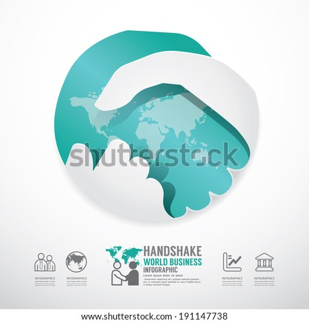 business handshake business with world paper style  template  / can be used for infographics graphic or website layout vector - stock vector