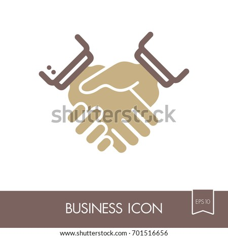 Business Handshake Contract Agreement Outline Icon Stock Vector