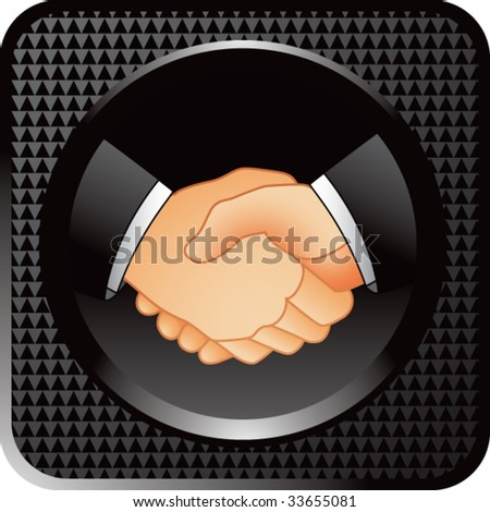 business handshake on black halftone web button