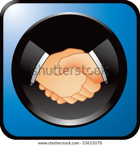 business handshake on blue web button