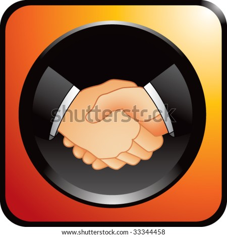 business handshake on orange web button