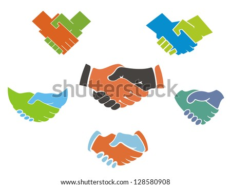 Business handshake symbols and icons set for partnership concept design or logo template. Jpeg version also available in gallery - stock vector