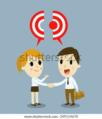 Business handshake  with cooperation.  - stock vector