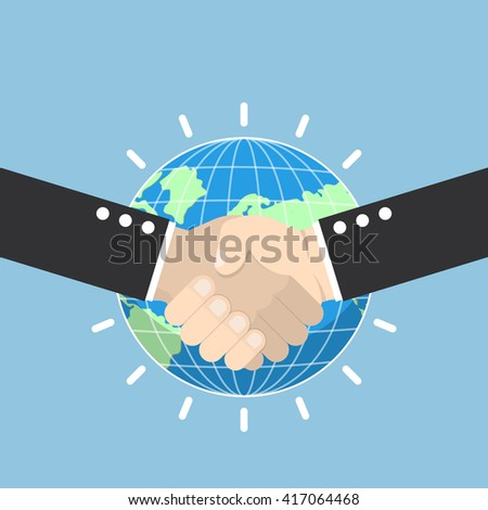 Business handshake with earth globe on background, partnership, international business concept, VECTOR, EPS10 - stock vector