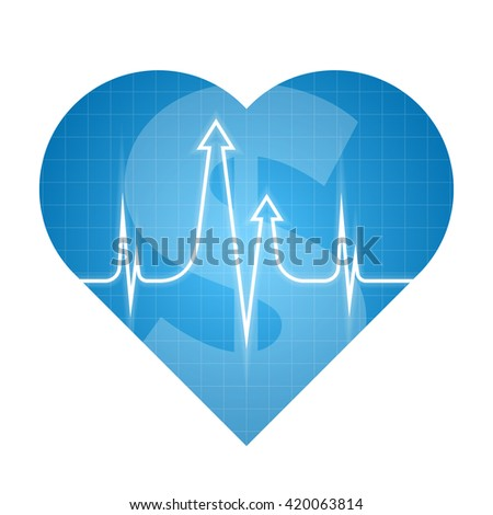 Business heart pulse concept. Vector illustration of finance development process. Isolated blue heart silhouette, heartbeat line with arrows shape. Element for web, print, presentation, social network - stock vector