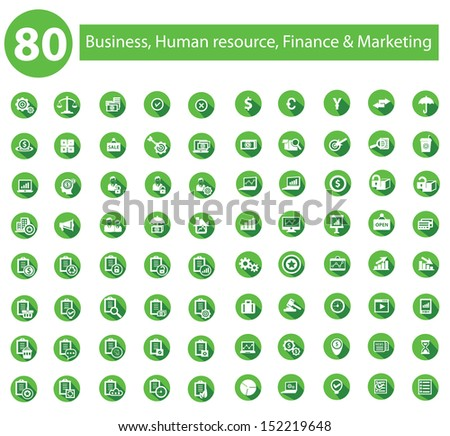 Business, Human resource,Finance icon set,Green version,vector - stock vector