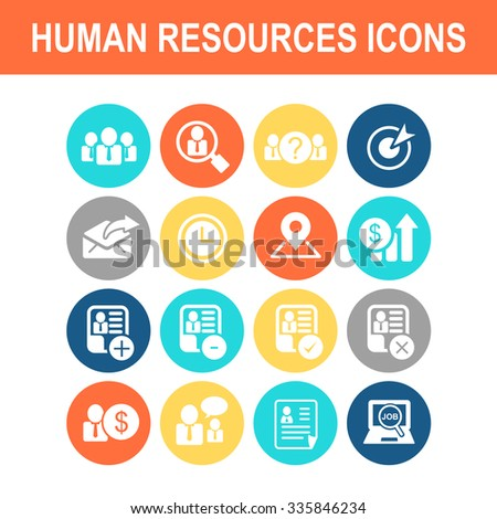 Business Human Resource icon set - Flat Series - stock vector