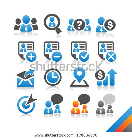 Business Human Resource icon vector - Simplicity Series - Three color version icons vector - stock vector