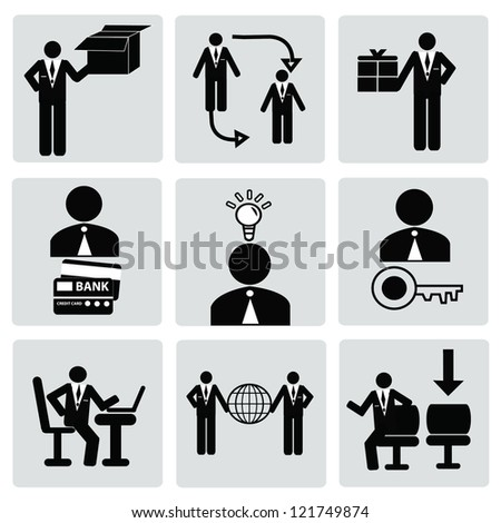 Business & human resource,management icon set,Vector - stock vector