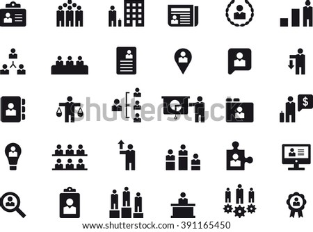 BUSINESS, HUMAN RESOURCES & MANAGEMENT icons - stock vector