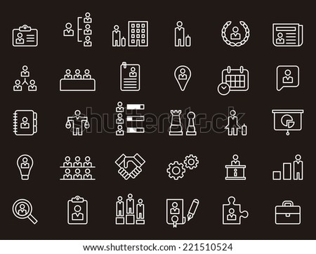 Business, Human Resources & Management icons set - stock vector