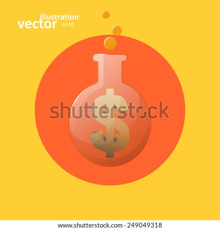 Business icon, chemical laboratory flask, vector graphic design, stylish concept eps10 - stock vector