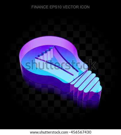 Business icon: 3d neon glowing Light Bulb made of glass with transparent shadow on black background, EPS 10 vector illustration. - stock vector