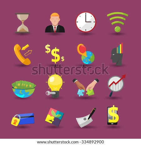 Business Icon Flat Color Cartoon Vector