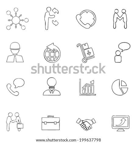 Business icon line drawing  by hand Set 3 - stock vector