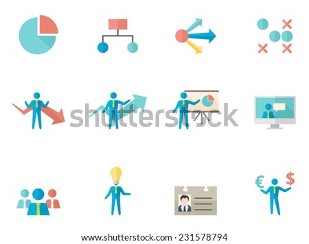 Business icon series in flat colors style - stock vector