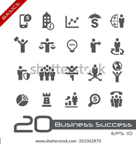 Business Icon Set // Basics - stock vector