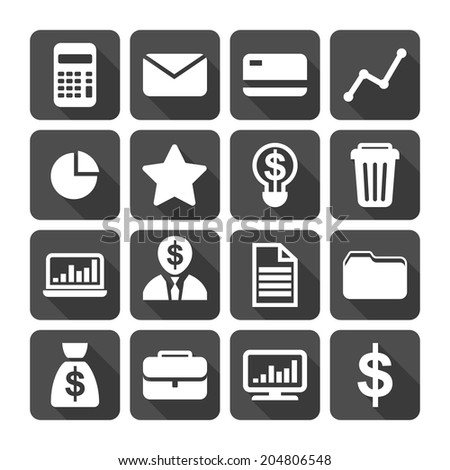 Business Icon Set. Calculator, Credit Card, Money, Document, Economics, Statistic. Vector Illustration EPS10 - stock vector