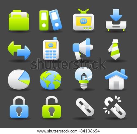 business icon set | Dark series - stock vector