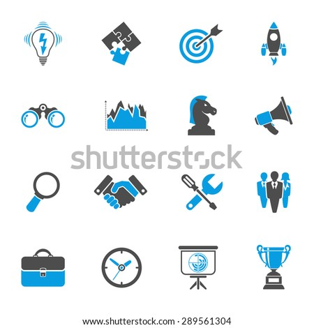 Business Icon Set - Finance, Strategy, Idea, Research, Teamwork, Success. Vector in two color isolated on white background - stock vector