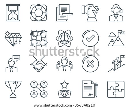 Business icon set suitable for info graphics, websites and print media. Black and white flat line icons. - stock vector