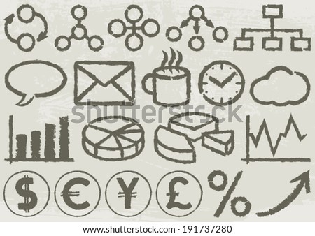 Business Icons. A set of 20 business symbols drawn by hand. EPS8 Illustration. - stock vector