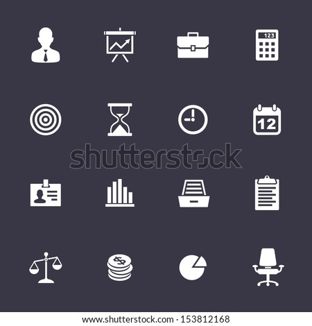 Business Icons. Clean vector icons on black - stock vector