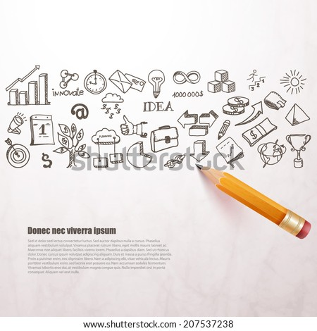 business icons drawn in pencil. Vector background.  - stock vector