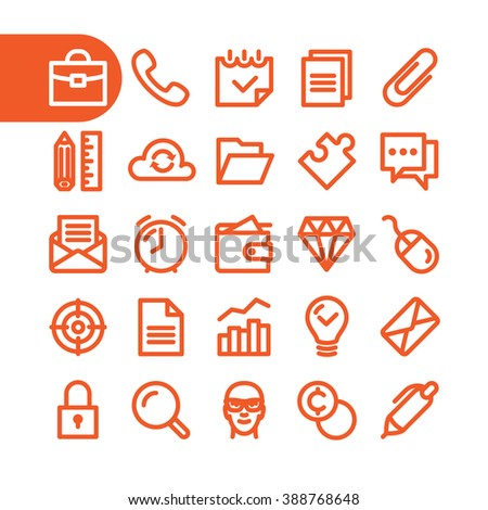 Business icons. Fat Line business Icon set. Business line icons. Modern minimalistic business flat design elements of office supplies, business conceptions, work business tools. Vector business icons. - stock vector
