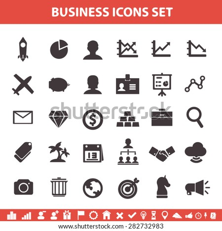 business icons flat design set