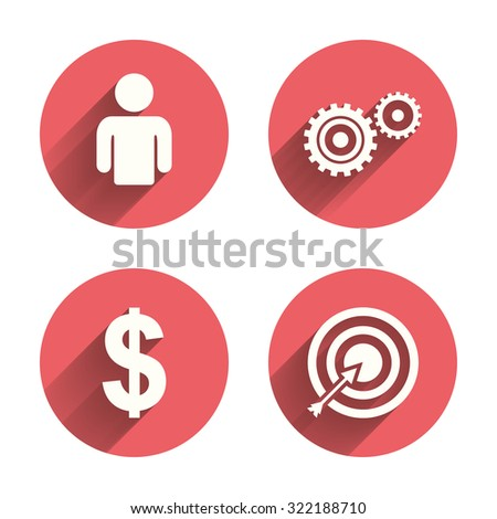 Business icons. Human silhouette and aim targer with arrow signs. Dollar currency and gear symbols. Pink circles flat buttons with shadow. Vector - stock vector