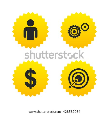 Business icons. Human silhouette and aim targer with arrow signs. Dollar currency and gear symbols. Yellow stars labels with flat icons. Vector - stock vector